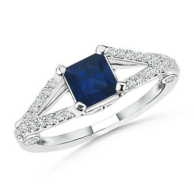 Natural Blue Sapphire With Diamond Accent Engagement Ring 14k White Gold