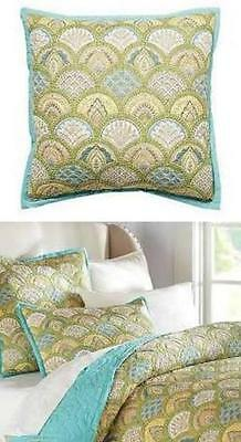 2 POTTERY BARN Quilted Scalloped MARCY Yellow Green Blue Euro Shams NEW