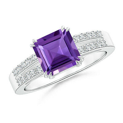 Natural Emerald Cut Amethyst And Diamond Engagement Ring 14k White Gold Size 6