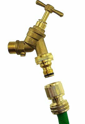"solid brass outdoor garden tap 1/2""bspm inlet with non return valve, click-lock"