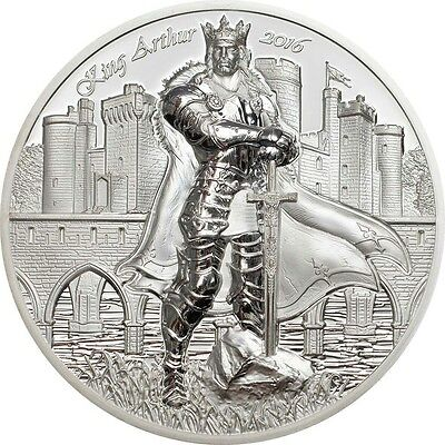 2016 LEGENDS OF CAMELOT - KING ARTHUR 2 oz Silver Coin Cook Islands 10$