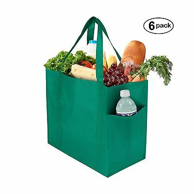 Grocery Bags (6 Pack) - Reusable Extra Large Shopping Bags with Quadruple - NEW