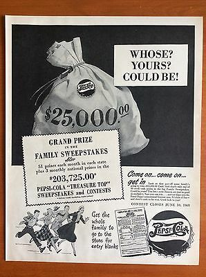 """1948 PEPSI-COLA Print Ad - """"Treasure Top"""" Sweepstakes, 51 Prizes in Each State"""