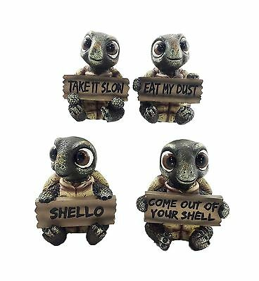 Whimsical Cute Sea Turtles Set of Four Figurine Holding Signs With Funny Sayi...