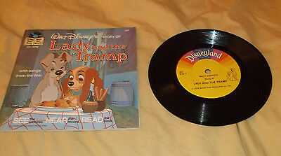 Walt Disney Lady And The Tramp 33 1/3 Rpm Record W/story Book