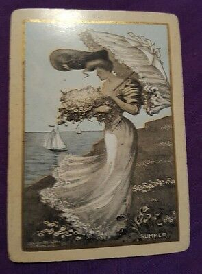 Rare Vintage Old Wide Swap Playing Card Ladies Good Condition AW