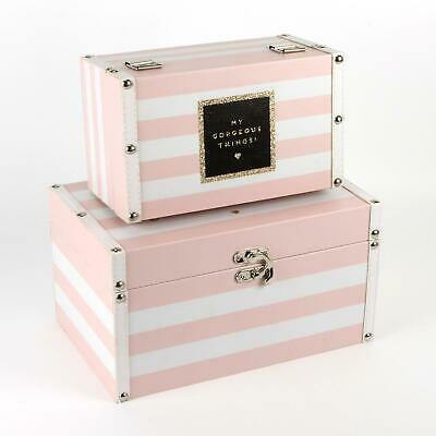 Two Storage Boxes Trunks Chests Room Tidy Pink & White 'My Gorgeous Things'