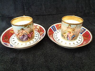 2 Tasses Royal Vienna Pictorial Cups