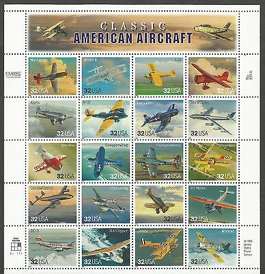 """US Stamps #3142 MNH Pane of 20 """"Classic American Aircraft"""" CV $13"""