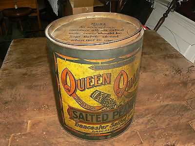 SALE! Vtg 10 Lb Salted Peanuts Queen Quality Advertising Tin Collectible M-228