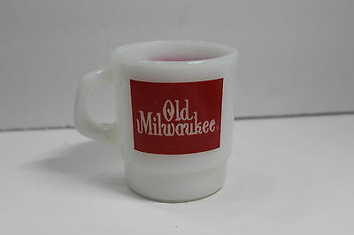 Vintage Old Milwaukee Beer White Milk Glass Coffee Cup Mug Unique Retro Rare Old