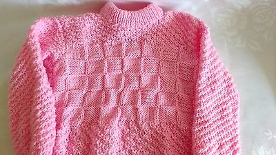 Hand Knitted Girls Pink Sweater Size 3T Handmade NEW