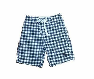 Abercrombie for kids navy blue and white plaid swimming trunks size Medium