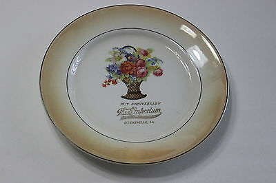 Vintage 31st Anniversary The Emporium Dyersville Iowa Decorative Plate Flowers