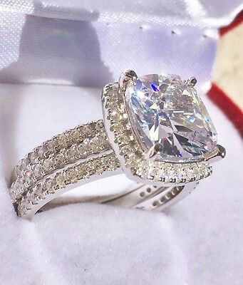 6ct Created Diamond Halo Engagement Ring Real Sterling Silver  3 Rings Included!