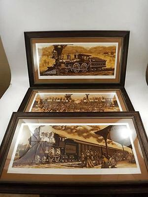 """Large Locomotive/Train Wood Framed Pictures 32""""L X 18""""H (3) Pieces"""