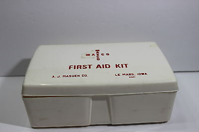Vintage First Aid Kid Container A.J. Masuen Co. Le Mars Iowa Masco White Plastic