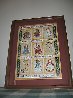 Framed Margie Whittington Quilted ANGEL REST STOP Print Home Interiors USA 19x15