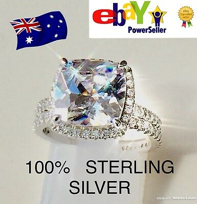 Diamond 3 RING SET 5.7 Carats HUGE Halo Engagement Ring Real Sterling Silver 925