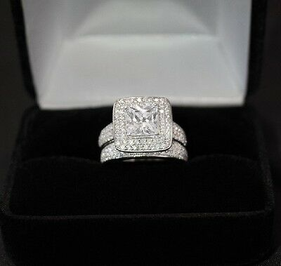 3.6CT Princess Cut Created White Diamond Ring Real Silver 925 Rhodium