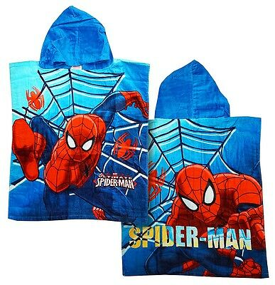 Boys Poncho Towel Swim Bath Spiderman Hoody Beach One Size 2 to 8 Years