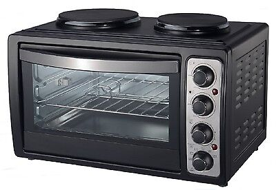 48L Mini Electric Oven Double Hob Counter Top Cooker