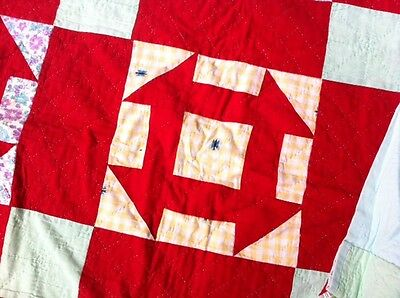 "OUTSTANDING VINTAGE HAND MADE TURKEY RED ANTIQUE QUILT UNIQUE PATTERN 75"" x 74"""
