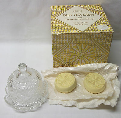 NOS in box AVON Pressed Diamond Cut Clear Glass Round BUTTER DISH w/ Lid & Soaps