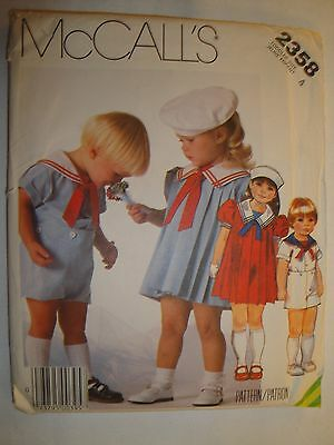 McCall's 1986 Pattern 2358 Toddler Size 4 Sailor Dress, Suit, and Hat