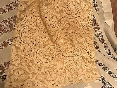 """Antique French Lace Dresser Scarf Table Runner Beautiful 16"""" x 52"""""""