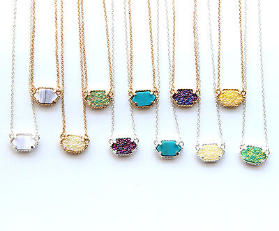 FX012 14K Gold Plated Druzy Necklace Super Cute Chic Oval Statement Drusy Choker