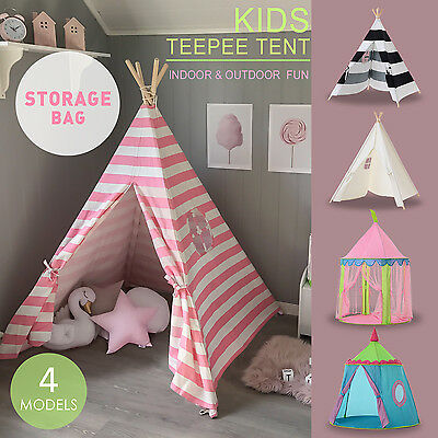 Large Pink Princess Girl Teepee Cotton Canvas Kids Play Tent Toy Indoor Outdoor