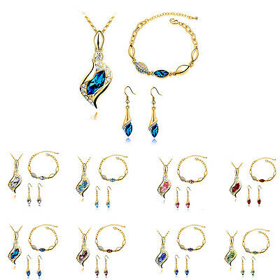 Pendant Jewelry Set Austrian Crystal Gold Plated Earrings Bracelet Necklace
