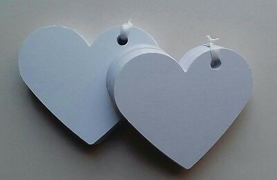 100 x Hearts Tags White Valentines Wedding Favors Wish Tree Labels Party