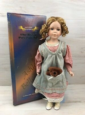 """Ashley Belle Bisque Porcelain Doll Beverly 18"""" Limited Edition W/ Box Stand COA"""