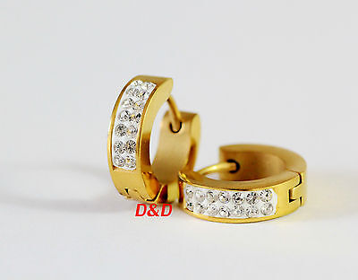 14mm Unique High quality gold Stainless Steel Hoop Earrings with clean zircon