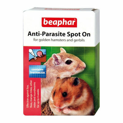 ANTI PARASITE SPOT ON for HAMSTERS & GERBILS IVERMECTIN WORMER LICE FLEAS NEW