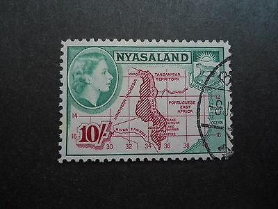 NYASALAND, QE II, 1953,V. FINE USED 10/-, BELIEVED TO BE SG. No.186, NICE STAMP.