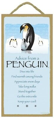 Advice from a Penguin Inspirational Wood Aquatic Animal Sign Plaque Made in USA