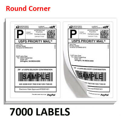 7000 Round Corner Half Sheet 8.5x5.5 Shipping Label 2 Per Sheet  Self-Adhesive