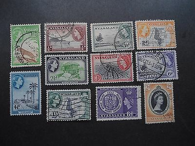 Nyasaland, Qe Ii,1953, F. Used Lot Of 11, Up To The 1/- Denomination