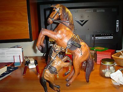 Vintage Leather Horse statues dark brown large 15 inches  small 8 inches