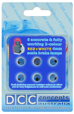 DCC Concepts DML-LLBRW 6 x Fully Working 2 Colour Red + White Brake Lamps T48