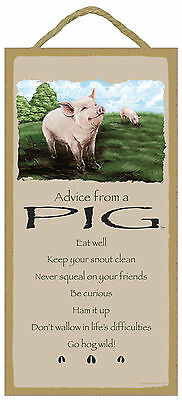 Advice from a Pig Inspirational Wood Nature Farm Animal Sign Plaque Made in USA
