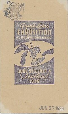 1936 Post Card Great Lakes Exposition Cleveland Centennial Jun 27 To Oct 4 Cleve