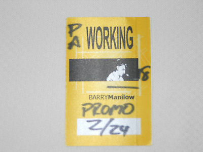Barry Manilow 2002-satin backstage pass crew, February 24, 2002-color yellow