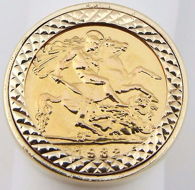 9 & 22Ct Yellow Gold Elizabeth II 1982 Half Sovereign Coin Ring UK Size Q 1/2