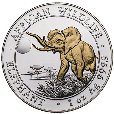 African Wildlife Elephant 100 Shillings 2016 1 oz gold & silver plated coin