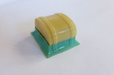 20s 30s Art Deco 2 Color Celluloid Ring Box green & ivory Streamline Moderne VTG