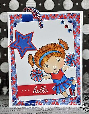 KOScraps4u Adorable Copic Coloured Birthday Girl Card Paper Piecing Premade